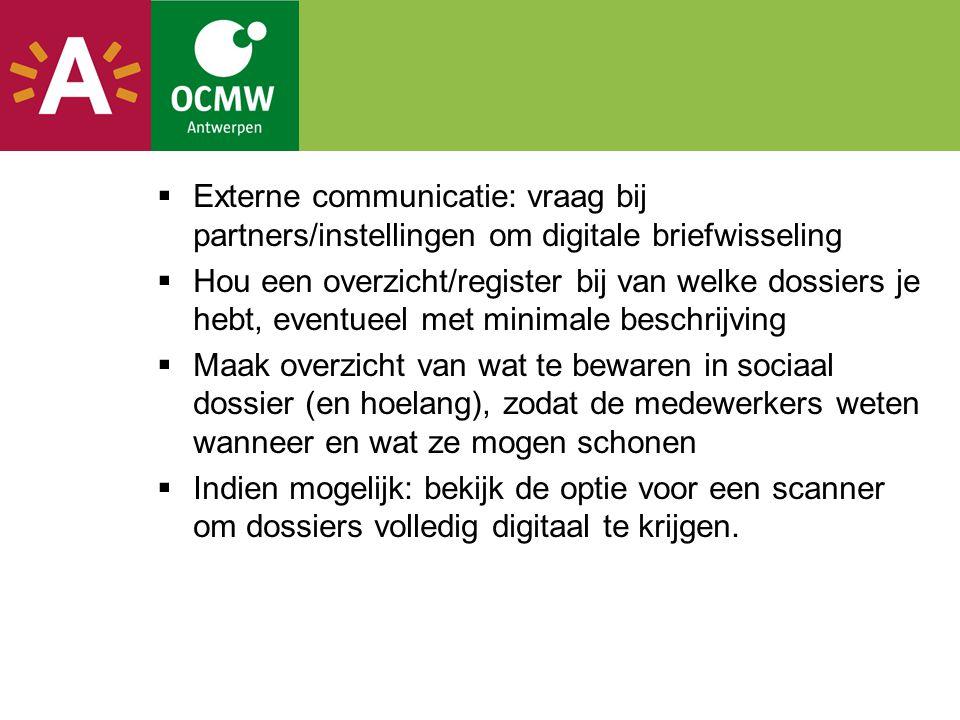 Externe communicatie: vraag bij partners/instellingen om digitale briefwisseling