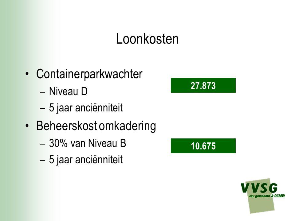 Loonkosten Containerparkwachter Beheerskost omkadering Niveau D