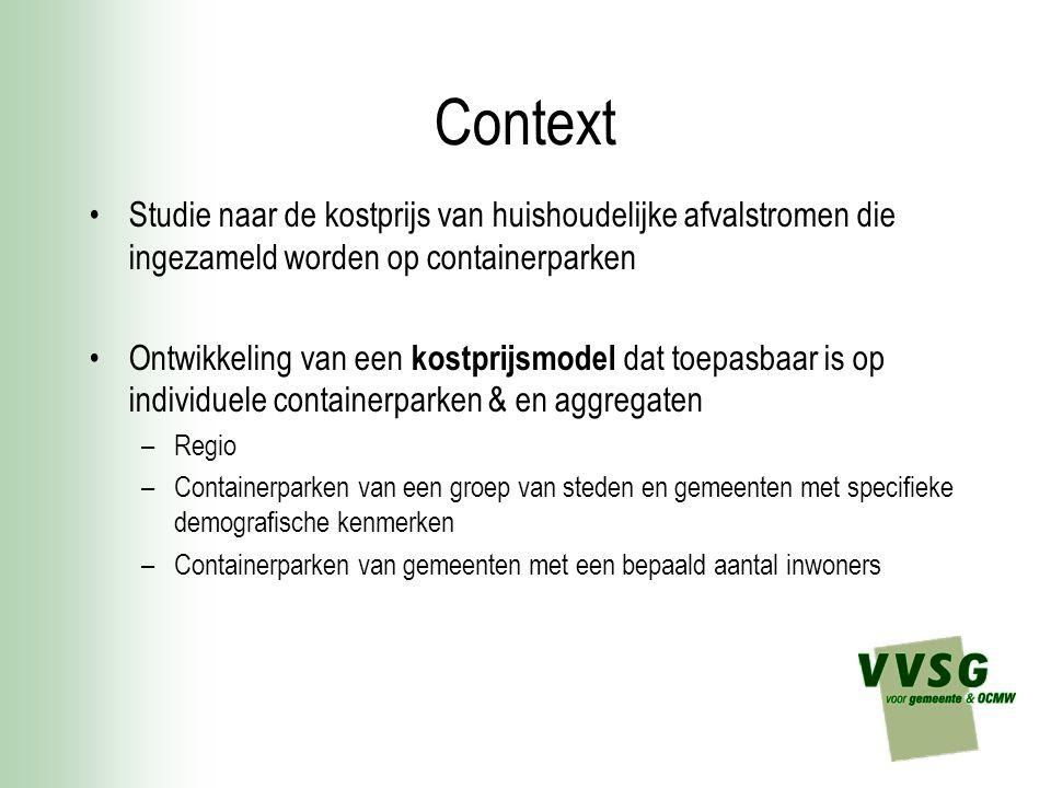 Context Studie naar de kostprijs van huishoudelijke afvalstromen die ingezameld worden op containerparken.