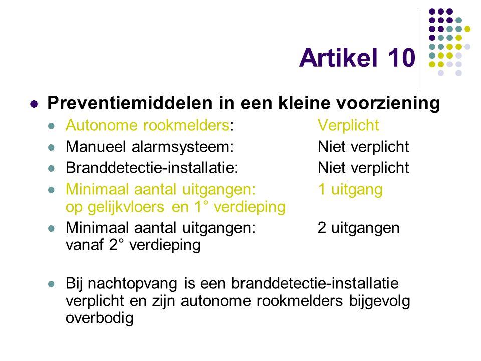Artikel 10 Preventiemiddelen in een kleine voorziening