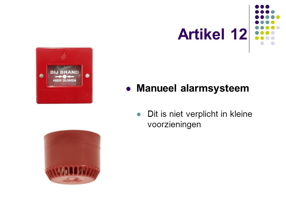 Artikel 12 Manueel alarmsysteem