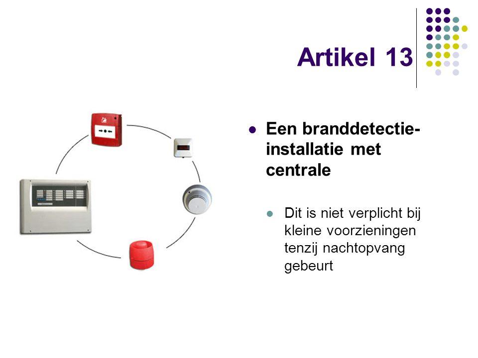 Artikel 13 Een branddetectie-installatie met centrale