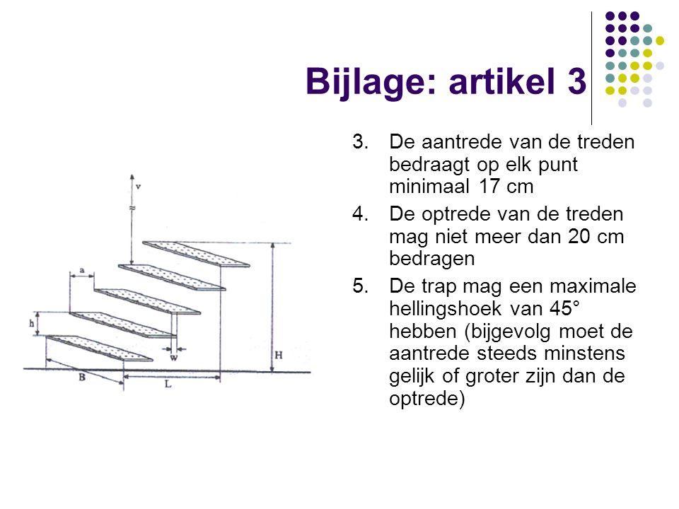 Bijlage: artikel 3 3. De aantrede van de treden bedraagt op elk punt minimaal 17 cm. 4. De optrede van de treden mag niet meer dan 20 cm bedragen.