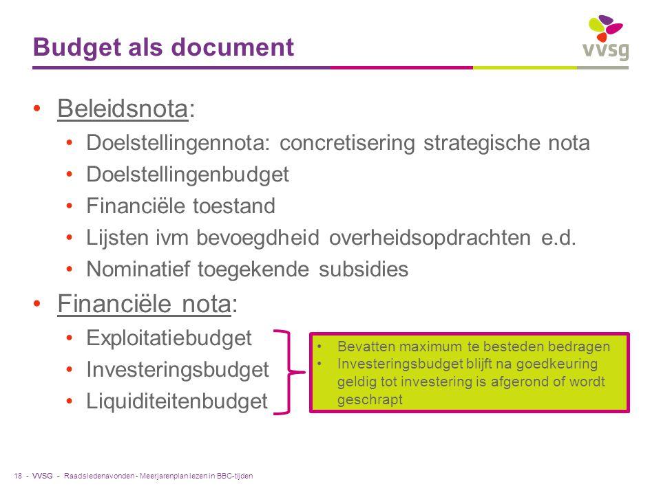 Budget als document Beleidsnota: Financiële nota: