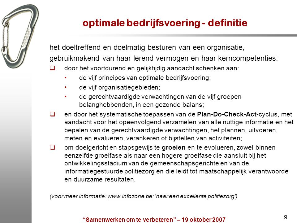 optimale bedrijfsvoering - definitie