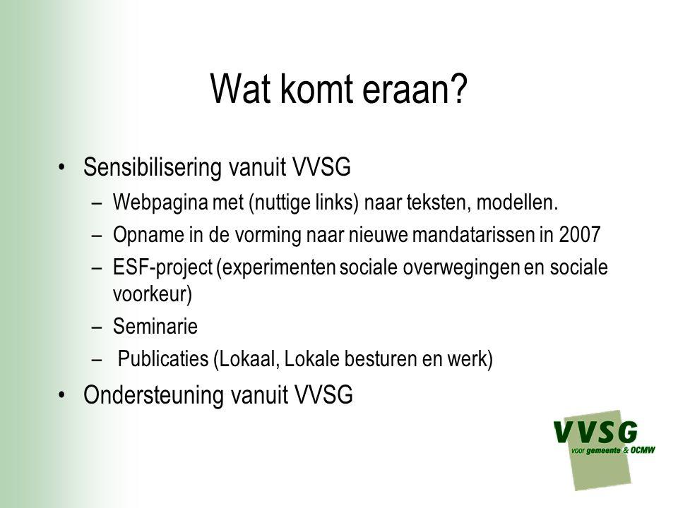 Wat komt eraan Sensibilisering vanuit VVSG Ondersteuning vanuit VVSG