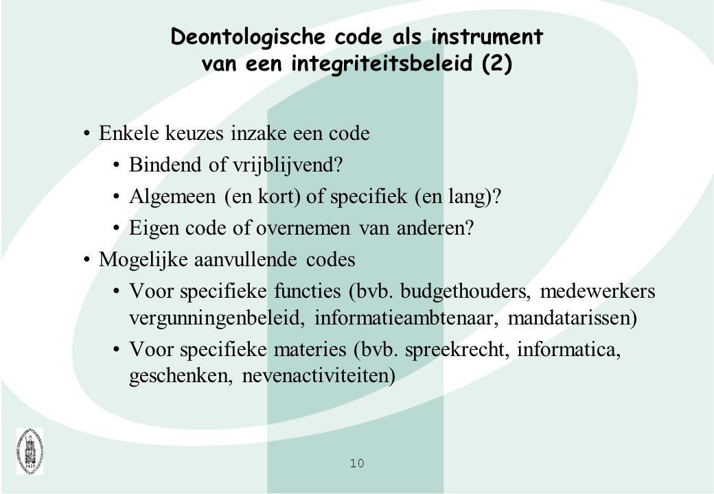 Deontologische code als instrument van een integriteitsbeleid (2)