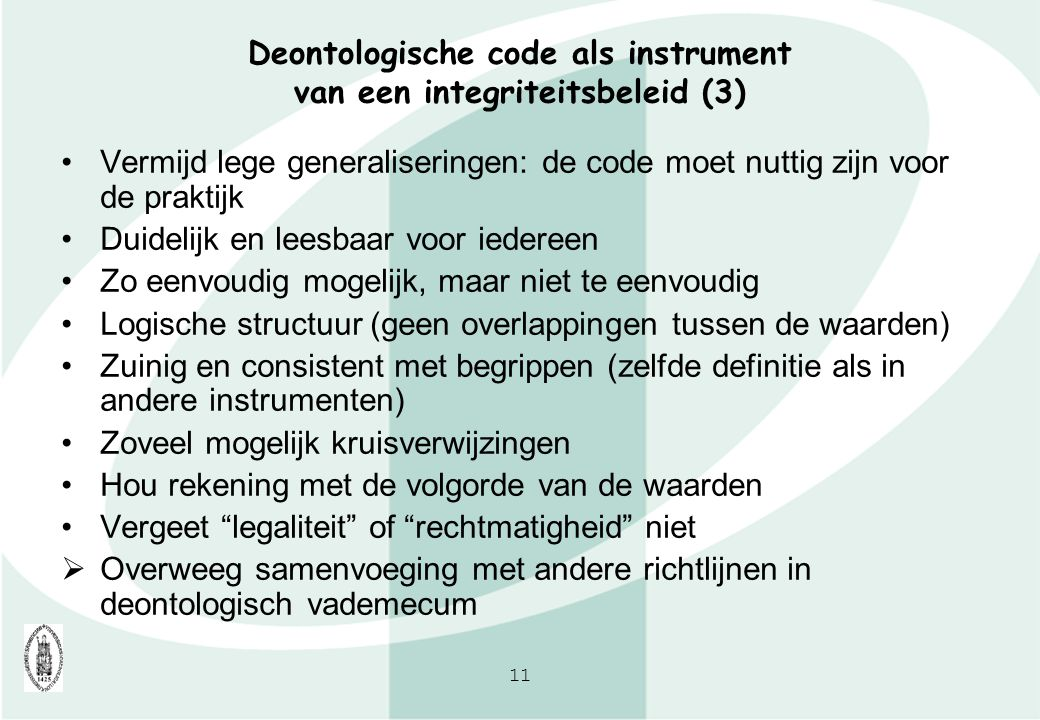 Deontologische code als instrument van een integriteitsbeleid (3)