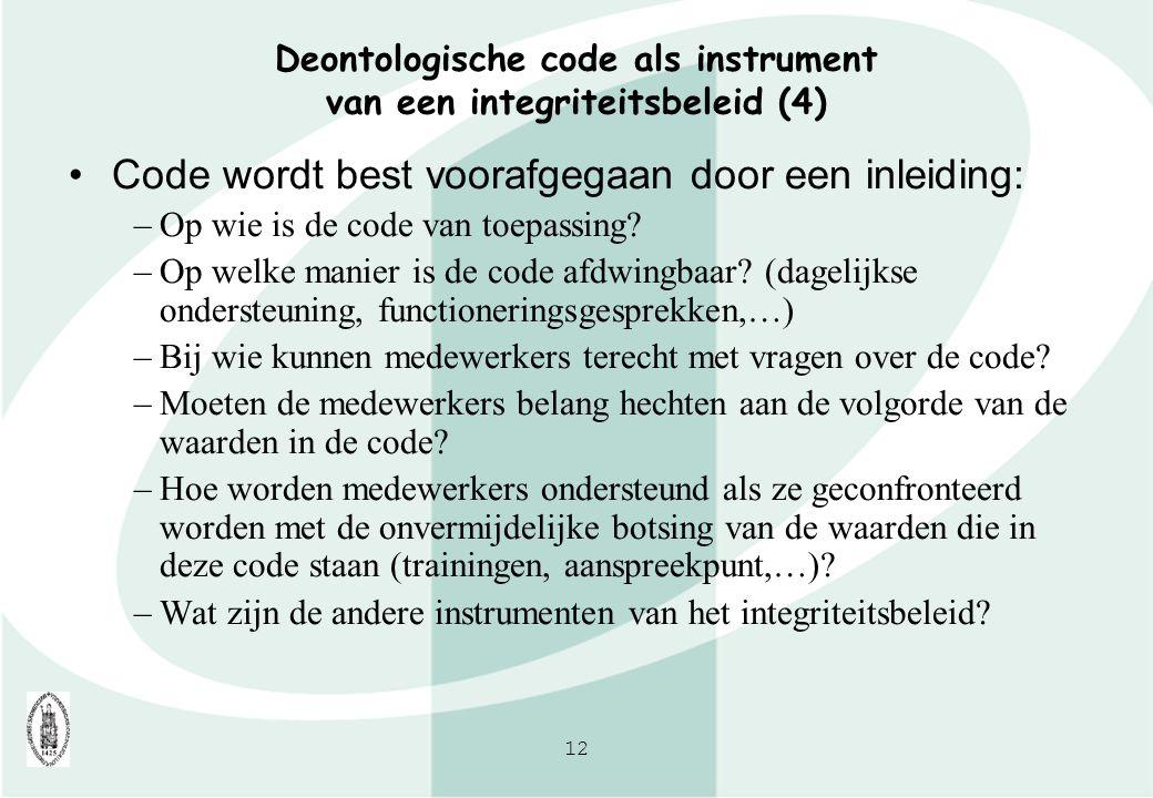 Deontologische code als instrument van een integriteitsbeleid (4)