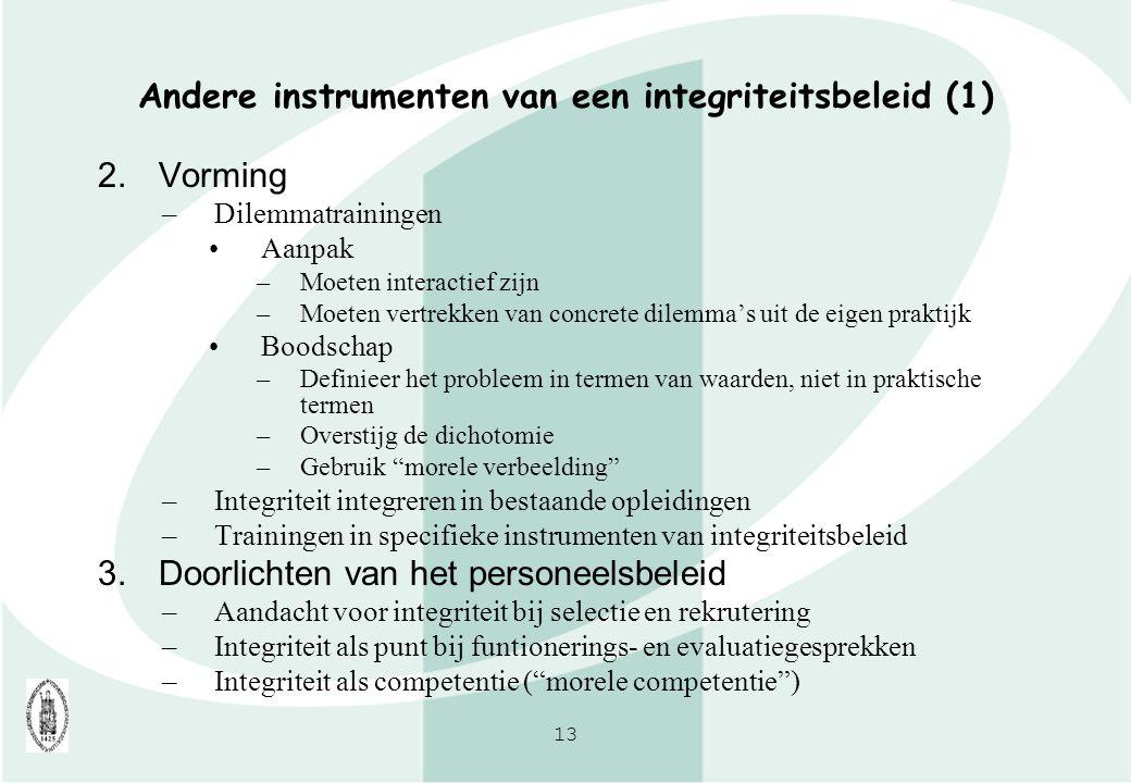 Andere instrumenten van een integriteitsbeleid (1)