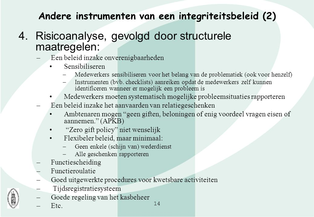 Andere instrumenten van een integriteitsbeleid (2)