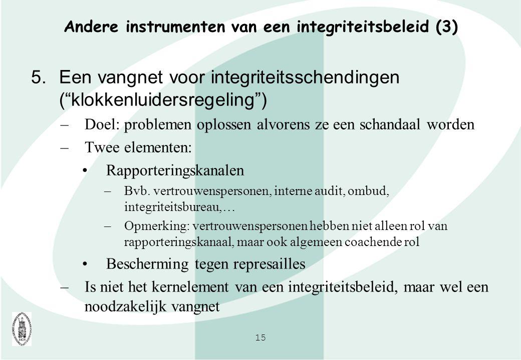 Andere instrumenten van een integriteitsbeleid (3)