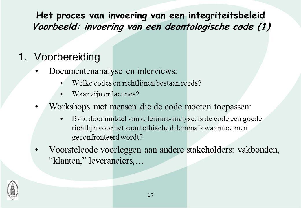 Het proces van invoering van een integriteitsbeleid Voorbeeld: invoering van een deontologische code (1)