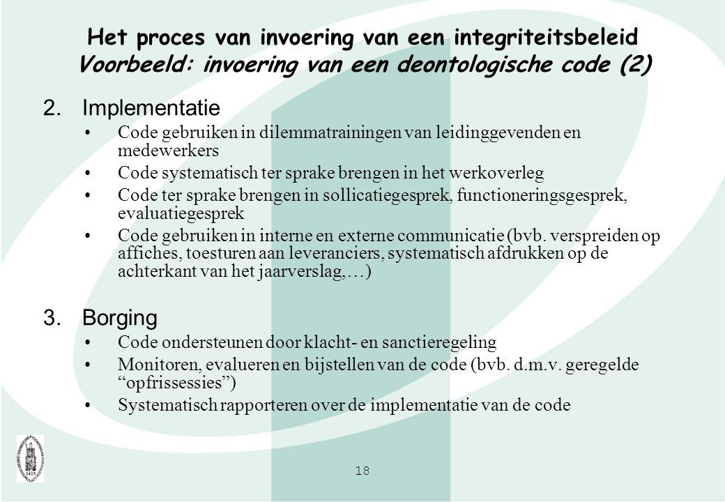 Het proces van invoering van een integriteitsbeleid Voorbeeld: invoering van een deontologische code (2)