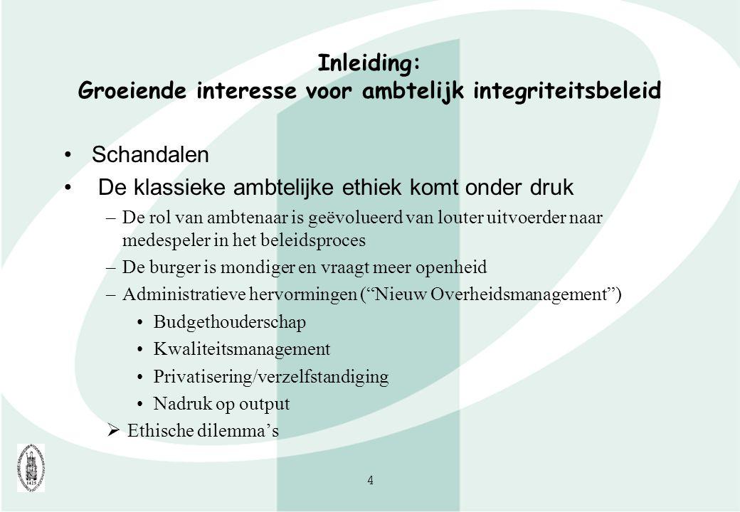 Inleiding: Groeiende interesse voor ambtelijk integriteitsbeleid