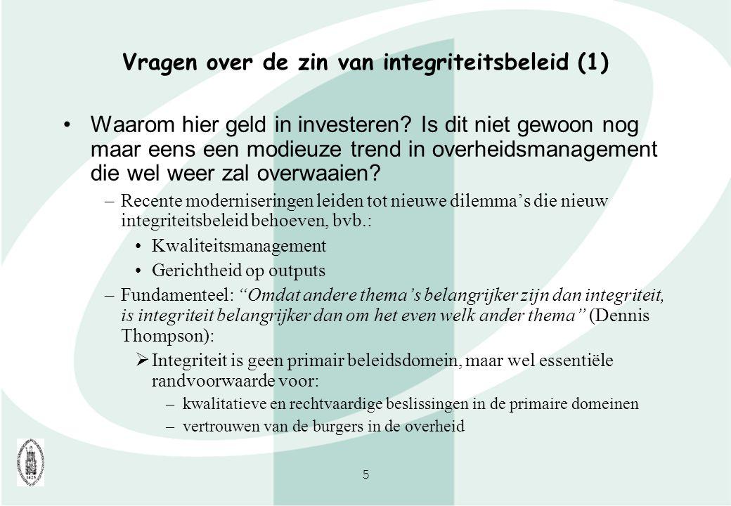 Vragen over de zin van integriteitsbeleid (1)