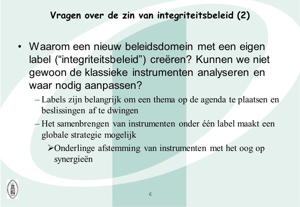 Vragen over de zin van integriteitsbeleid (2)