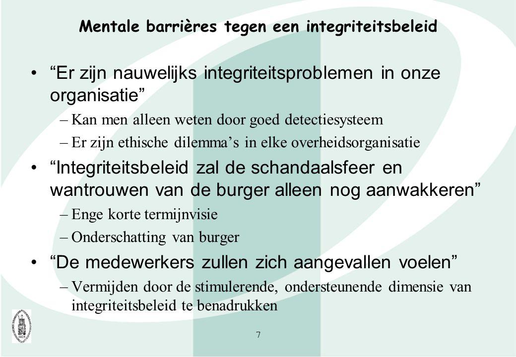 Mentale barrières tegen een integriteitsbeleid