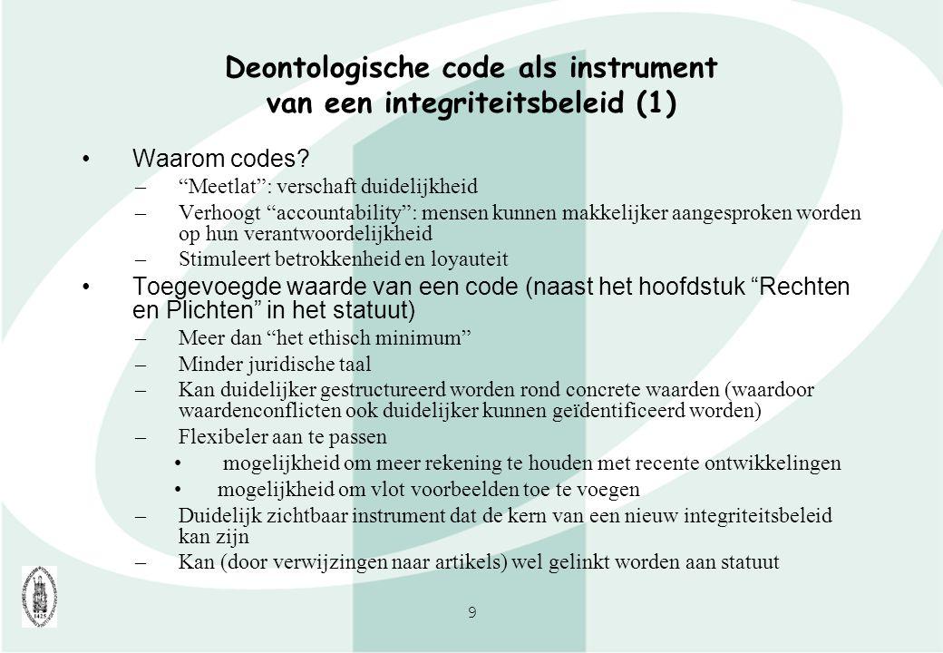 Deontologische code als instrument van een integriteitsbeleid (1)