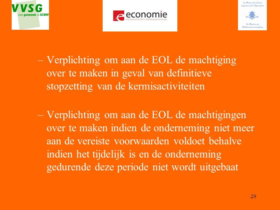 Verplichting om aan de EOL de machtiging over te maken in geval van definitieve stopzetting van de kermisactiviteiten