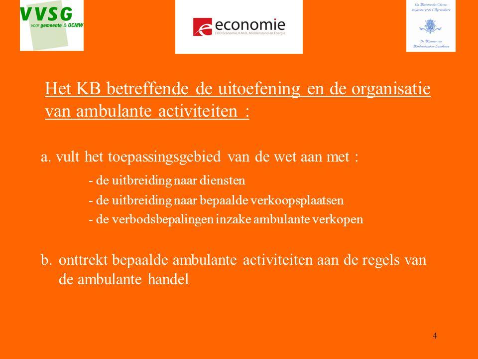 Het KB betreffende de uitoefening en de organisatie van ambulante activiteiten :