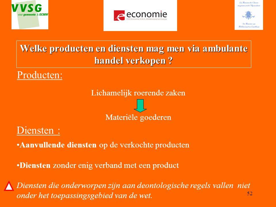 Welke producten en diensten mag men via ambulante handel verkopen