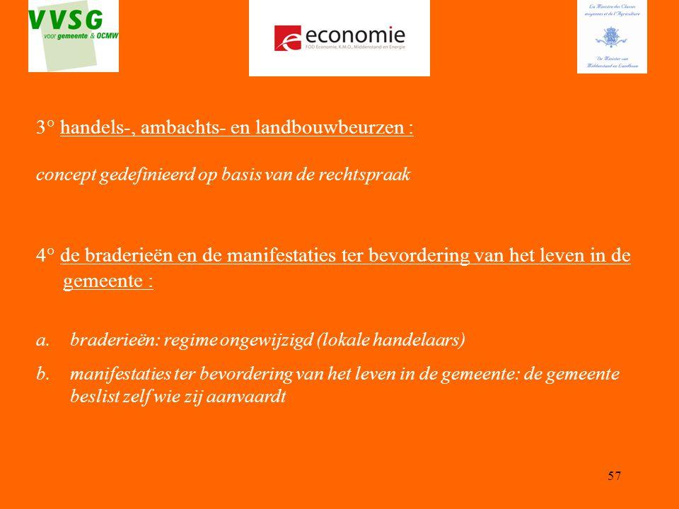 3° handels-, ambachts- en landbouwbeurzen :