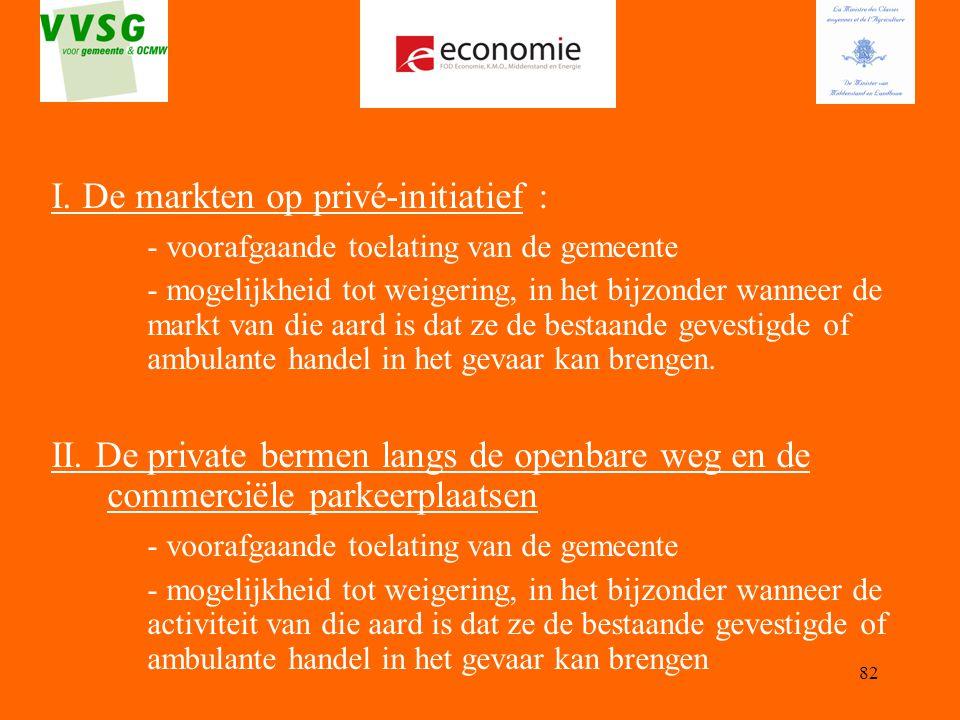 I. De markten op privé-initiatief :