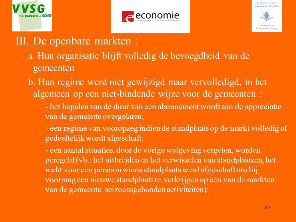 III. De openbare markten :
