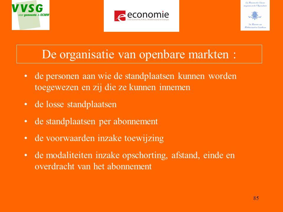 De organisatie van openbare markten :