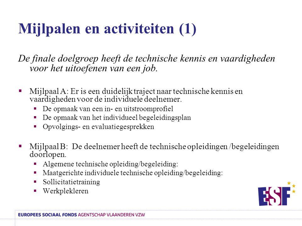 Mijlpalen en activiteiten (1)