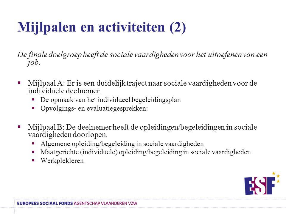 Mijlpalen en activiteiten (2)