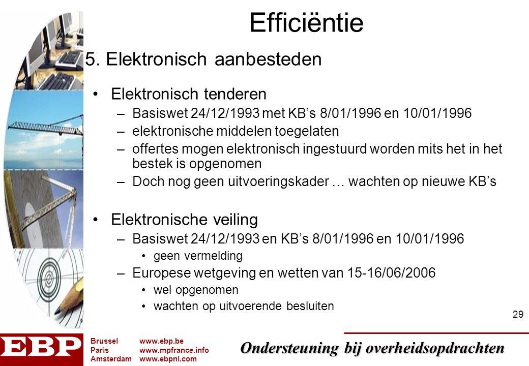 Efficiëntie 5. Elektronisch aanbesteden Elektronisch tenderen