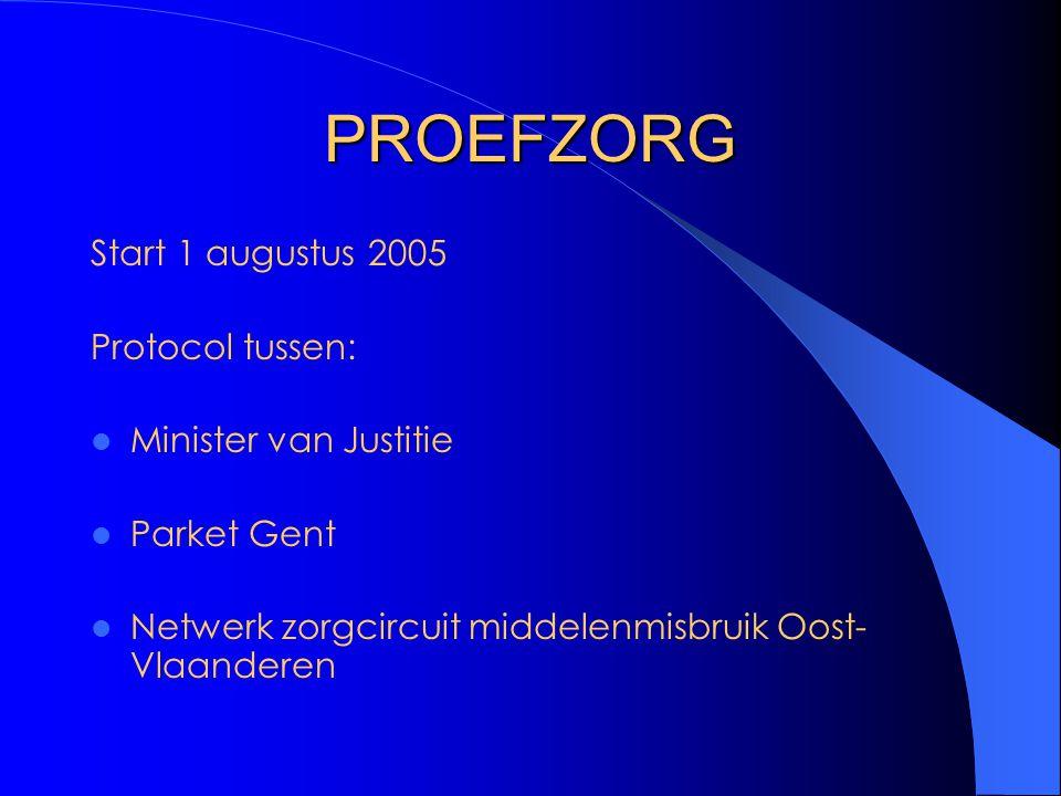 PROEFZORG Start 1 augustus 2005 Protocol tussen: Minister van Justitie
