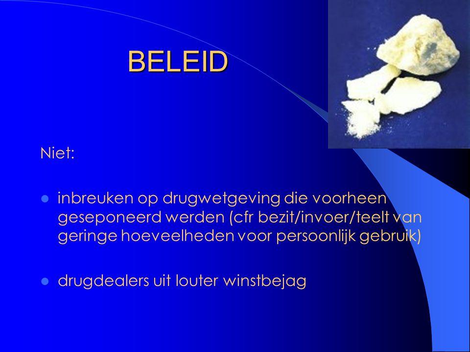 BELEID Niet: inbreuken op drugwetgeving die voorheen geseponeerd werden (cfr bezit/invoer/teelt van geringe hoeveelheden voor persoonlijk gebruik)