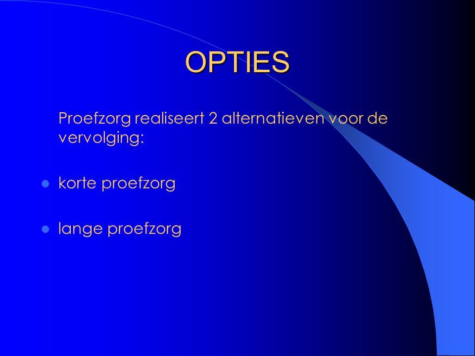 OPTIES Proefzorg realiseert 2 alternatieven voor de vervolging: