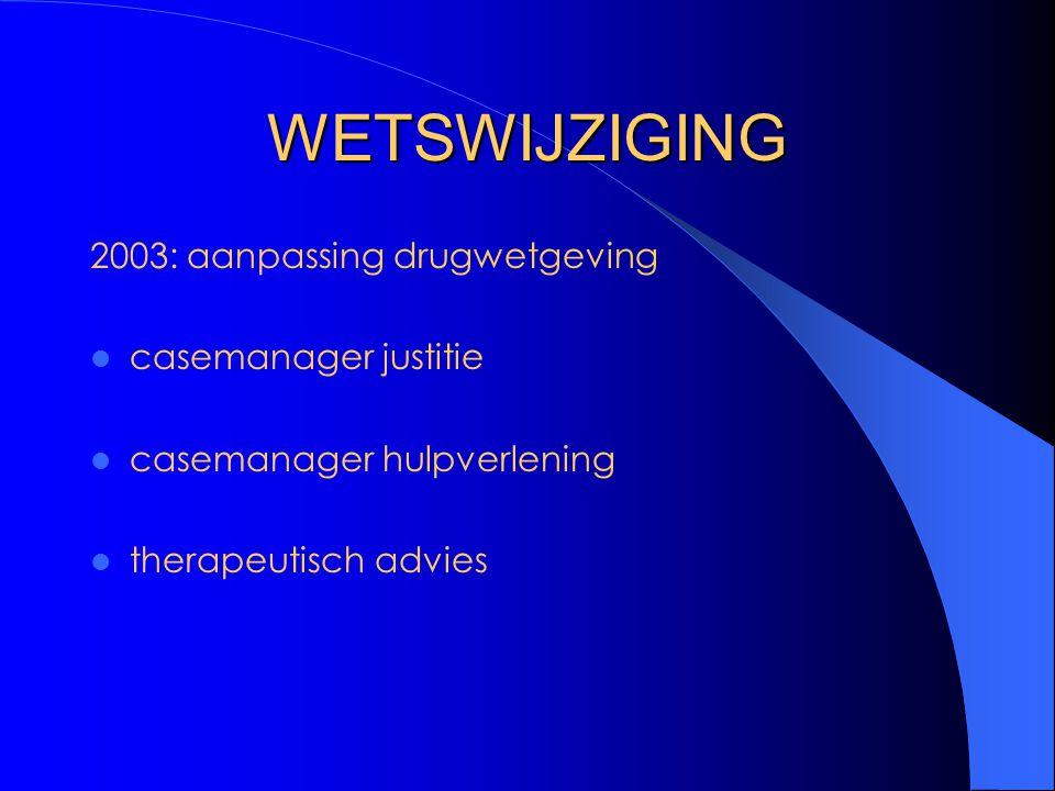 WETSWIJZIGING 2003: aanpassing drugwetgeving casemanager justitie