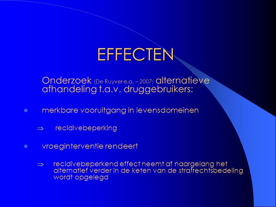 EFFECTEN Onderzoek (De Ruyver e.a. – 2007) alternatieve afhandeling t.a.v. druggebruikers: merkbare vooruitgang in levensdomeinen.