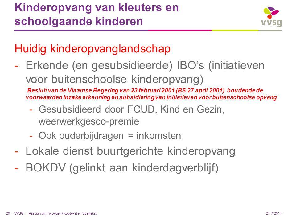 Kinderopvang van kleuters en schoolgaande kinderen