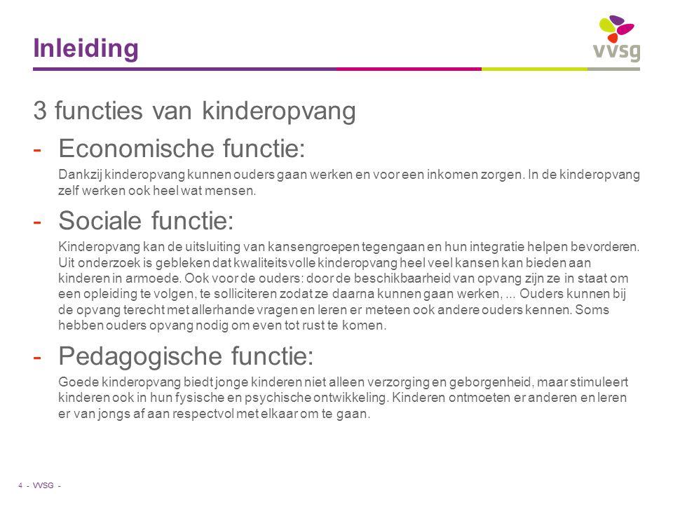 3 functies van kinderopvang Economische functie: Sociale functie: