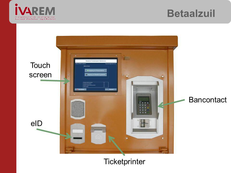Betaalzuil Touch screen Bancontact eID Ticketprinter
