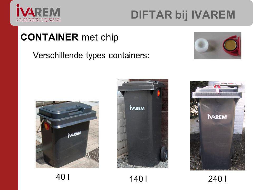 DIFTAR bij IVAREM CONTAINER met chip Verschillende types containers: