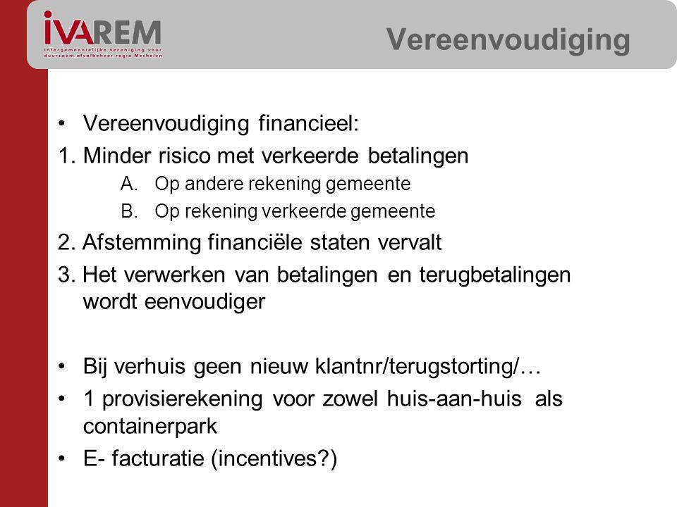Vereenvoudiging Vereenvoudiging financieel: