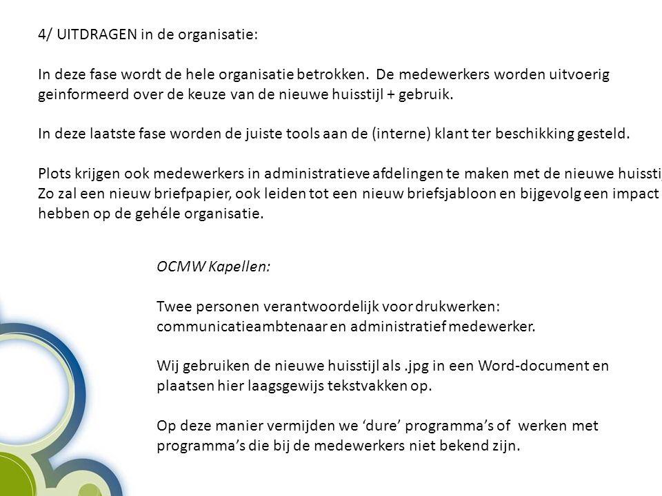 4/ UITDRAGEN in de organisatie: