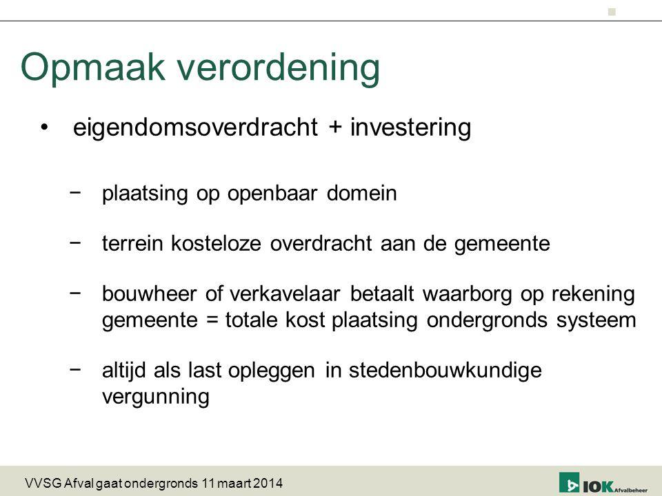 Opmaak verordening eigendomsoverdracht + investering