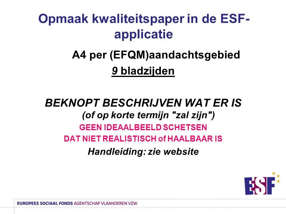 Opmaak kwaliteitspaper in de ESF-applicatie