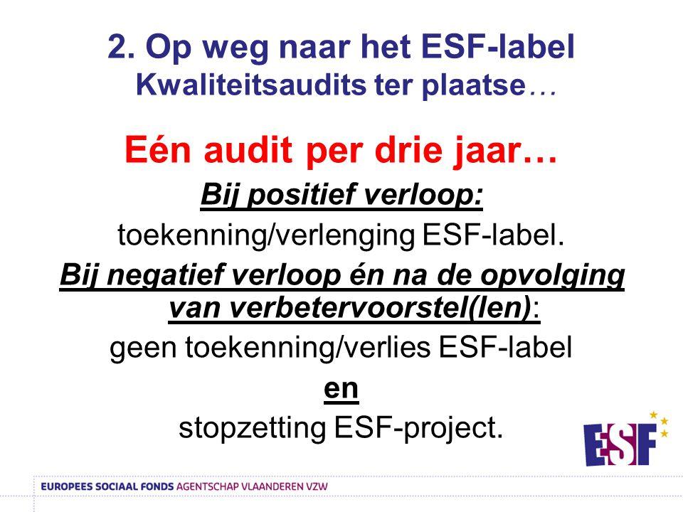 2. Op weg naar het ESF-label Kwaliteitsaudits ter plaatse…