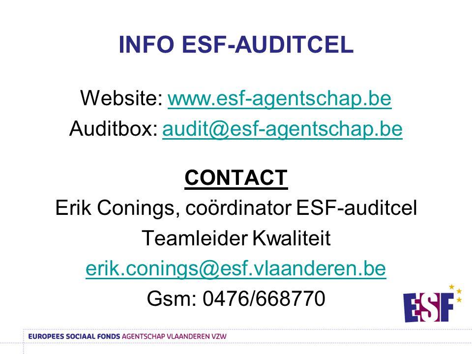 INFO ESF-AUDITCEL Website: www.esf-agentschap.be