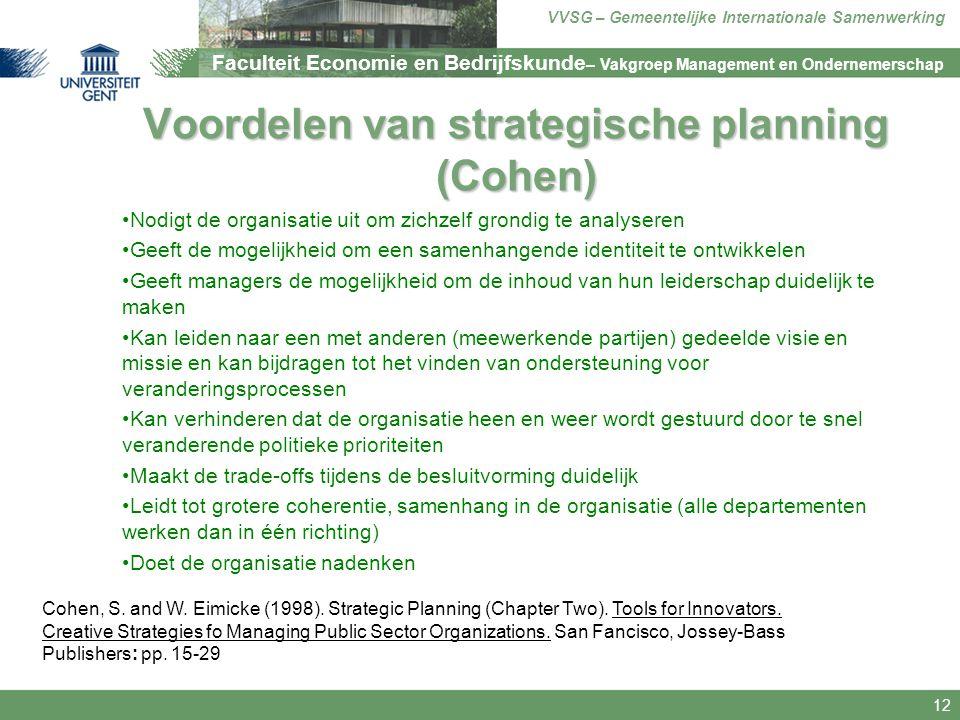 Voordelen van strategische planning (Cohen)