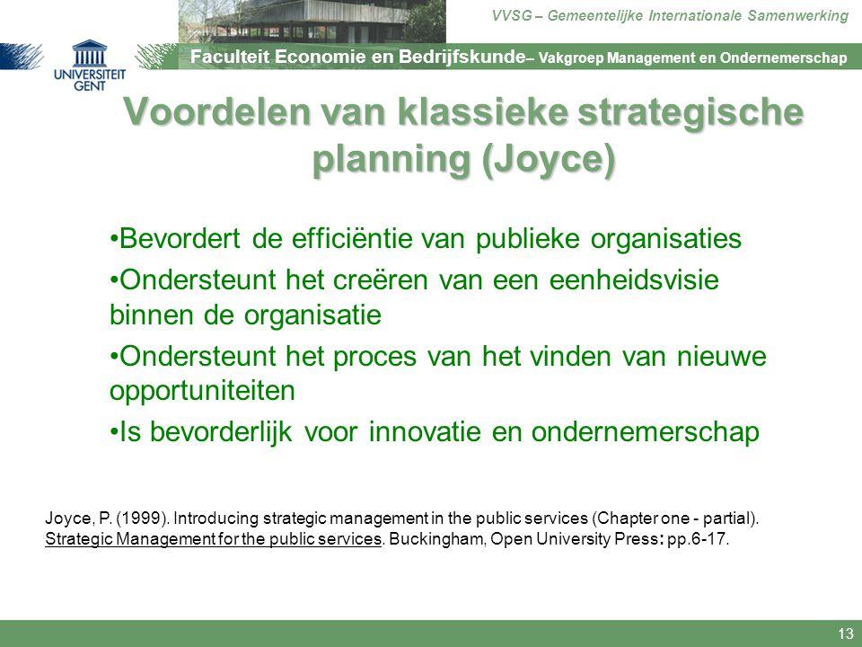 Voordelen van klassieke strategische planning (Joyce)